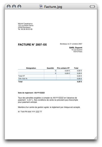 Modèle de facture avec Numbers